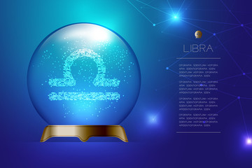 Libra Zodiac sign in Magic glass ball, Fortune teller concept design illustration on blue gradient background with copy space, vector eps 10