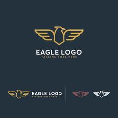 Luxury Eagle logo designs concept vector, Simple Line art Eagle Bird symbol