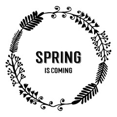 Spring is coming with flower frame vector illustration