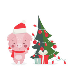 Happy new year greeting card with cute pig with nw year tree. Chinese symbol of the 2019 year. Design for print, poster, invitation, t-shirt. Vector illustration.