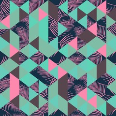 Vintage trendy colorful palm leaves and triangle pattern