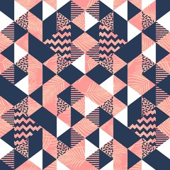Vintage hipster of triangle memphis seamless pattern