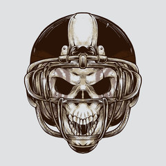 Vintage American football Skull illustration. Isolated artwork object. Suitable for and any print media need.