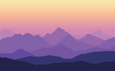 Vector illustration of mountain landscape with multiple layers, fog and yellow purple sky