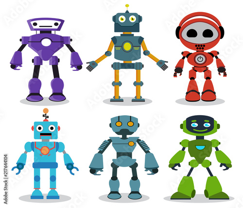 Robot toys vector characters set  Colorful kids robots