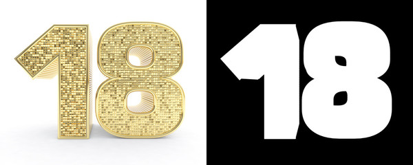 Golden number eighteen (number 18) on white background with drop shadow and alpha channel. 3D illustration