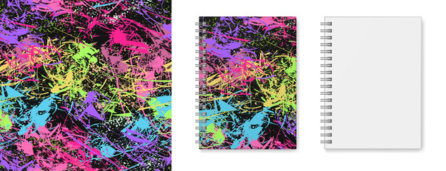 Realistic vector image (layout, mock-up) of a hardcover notebook with a silvery spiral attached, top view, 3d. Cover design of notebook with multicoloured seamless texture . Vector EPS 10.