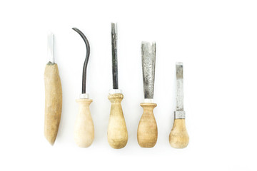 Cutters for wood carving, isolate, wooden