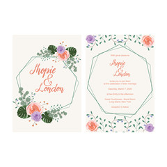 Wedding Invitation Greeting Card Template Elegant Floral