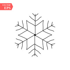 Hand drawn snowflakes. Delicate snow icon silhouettes. Vector illustration with editable strokes. Isolated on white background. Design elements for christmas, seasonal greetings, or any use.