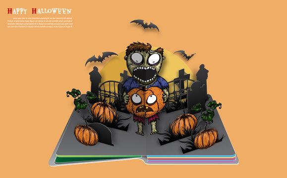 Zombie with pumpkin on halloween night. Halloween pop up book from vector.