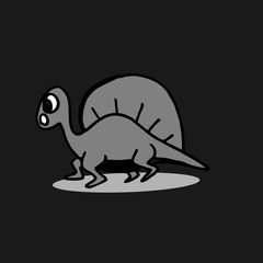 Dinosaurus cute hand drawn isolated on dark background.