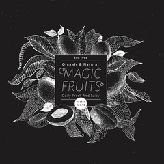 Mango fruit banner template. Hand drawn vector fruit illustration on chalk board. Engraved style vintage exotic background.