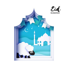 Eid-Al-Adha Greeting card design with paper cut cute Baby Sheep for Muslim Community. Origami Festival of Sacrifice. Eid Mubarak. Blue background. white ram. flags.