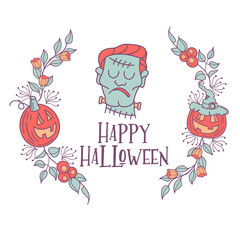 Happy Halloween vector illustration. Hand drawn greeting card, invitation for a Halloween party.