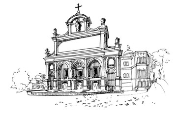 Wall Mural - Vector sketch of The Fontana dell'Acqua Paola also known as Il Fontanone, Rome, Italy.