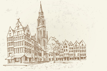 PVector sketch of  Famous fountain with Statue of Brabo in Grote Markt square in Antwerpen, Belgium.