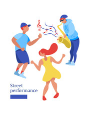 Street musician playing the saxophone. Man and woman dancing. Street performance. Vector illustration.