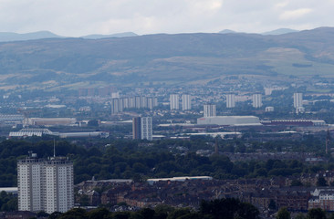 Blocks of flats in the city of Glasgow are seen from Cathkin Braes, Scotland