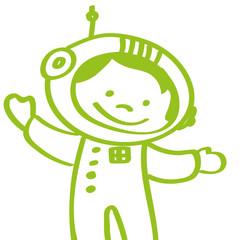 Handgezeichneter Astronaut in hellgrün
