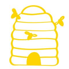 Handgezeichneter Bienenstock in gelb
