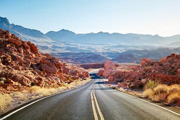 Scenic desert road at sunset, travel concept, USA.