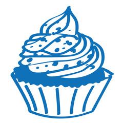 Handgezeichneter Cupcake in dunkelblau