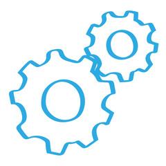 Handgezeichnete Zahnräder in blau