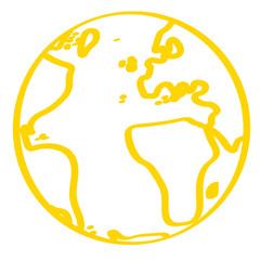 Handgezeichnete Weltkugel in gelb