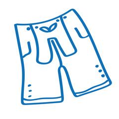 Handgezeichnete Lederhose in dunkelblau