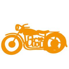 Handgezeichnetes Motorrad in orange