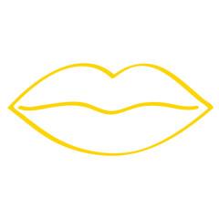 Handgezeichneter Mund in gelb