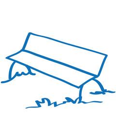 Handgezeichnete Parkbank in dunkelblau