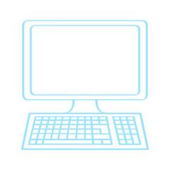 Handgezeichneter Computer in blau