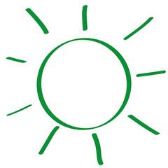 Handgezeichnete Sonne in grün