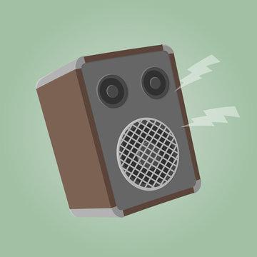 retro cartoon illustration of a speaker