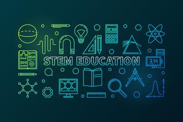 STEM Education vector outline colored horizontal banner