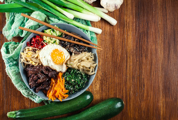 Bibimbap - rice with beef and vegetables