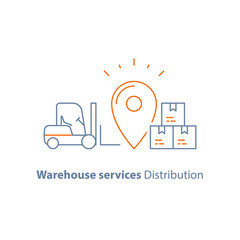 Distribution warehouse, supply storage service, logistics company, fork loader, pallet with stacked boxes, freight load