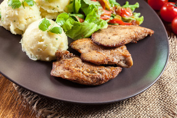 Chicken fillets breast with mashed potatoes