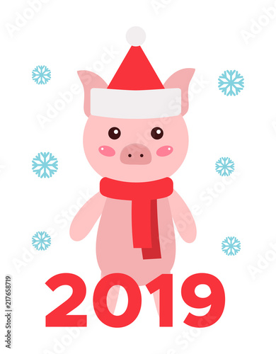 Happy New Year 2019 Card Vector Illustration Funny Cartoon Pig