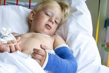 Boy at hospital after surgery