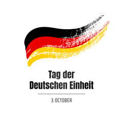 Tag der Deutschen Einheit. Banner for the day of German Unity with flag and text on white background. Hand-drawn illustration.