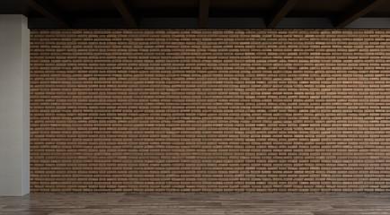 Home Improvement empty room brick wall no have furniture before interior design 3d rendering
