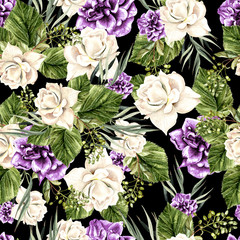 Beautiful  watercolor pattern with white roses and purple peony.