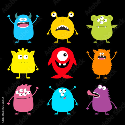 cute monster icon set happy halloween cartoon colorful scary funny