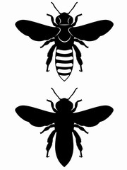 silhouette of bee , vector draw