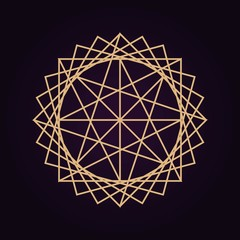 vector gold abstract mandala sacred geometry illustration isolated dark background