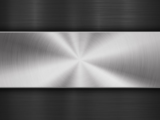 Fototapete - Metal textured abstract technology background with circular and straight polished, brushed texture, chrome, silver, steel, aluminum for design concepts, wallpapers, web and prints. Vector illustration