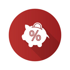 Penny piggy bank with percent flat design long shadow glyph icon